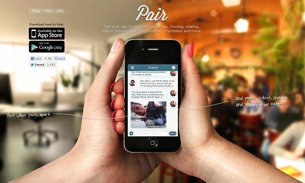 Pair app's original landing page