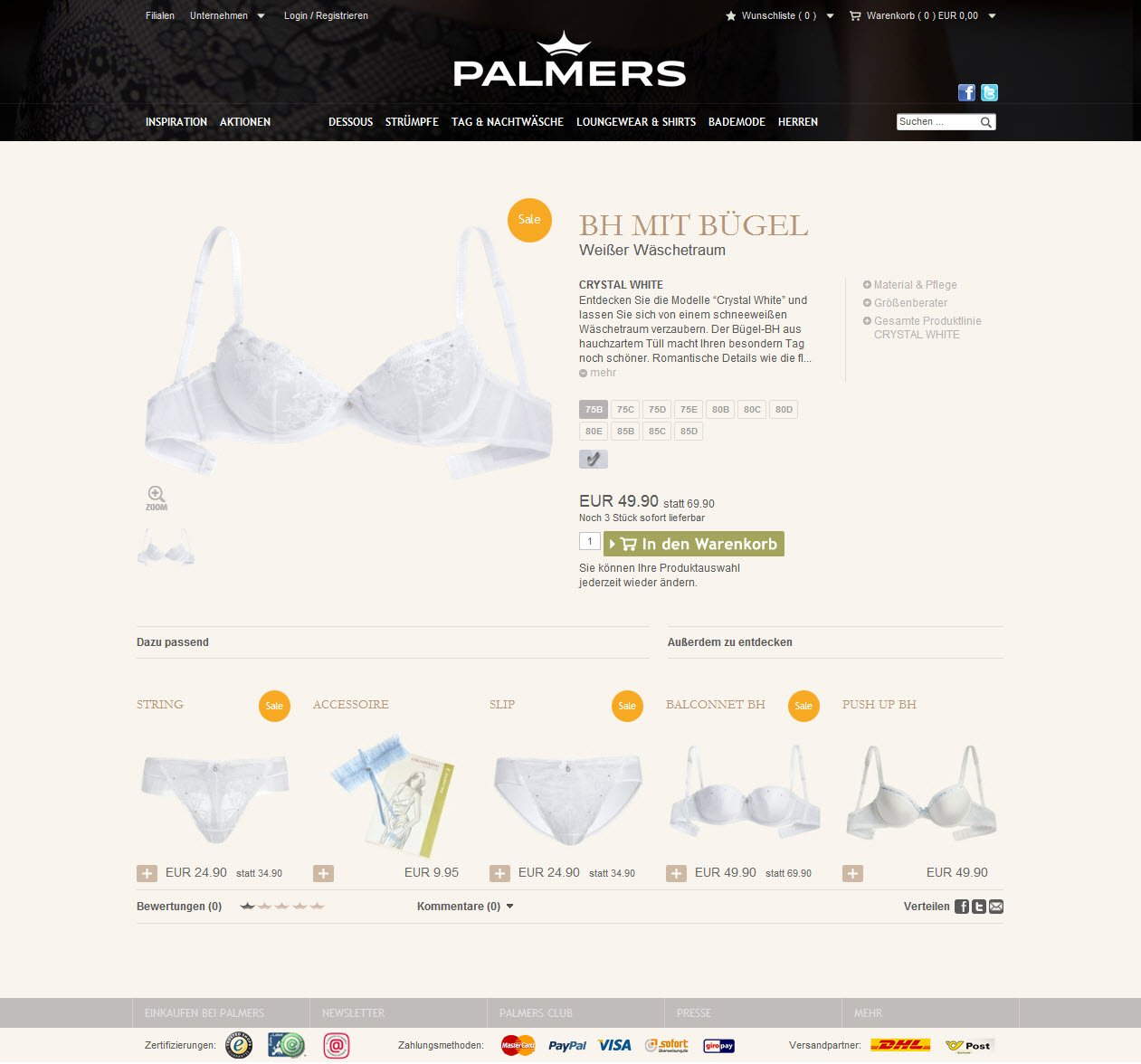 screenshot of the product listing page for Palmers