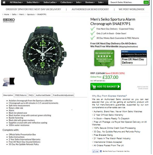 Express Watches Control Page