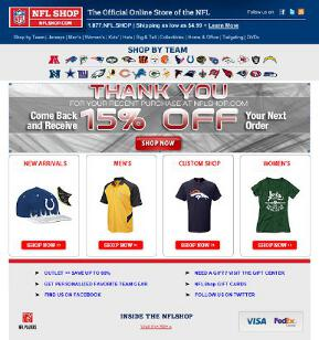 NFL Shop Thank You Page