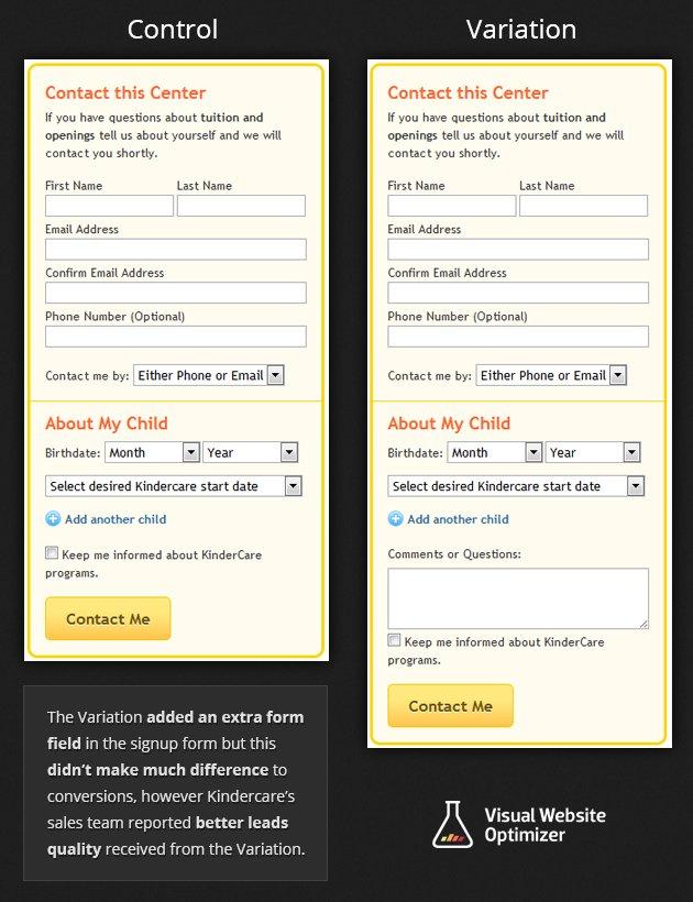 Kindercare's Signup Form Comparison
