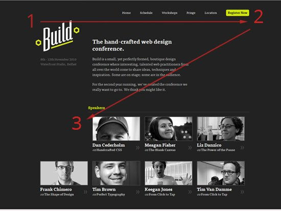 Visual Hierarchy for Build Conference Landing Page