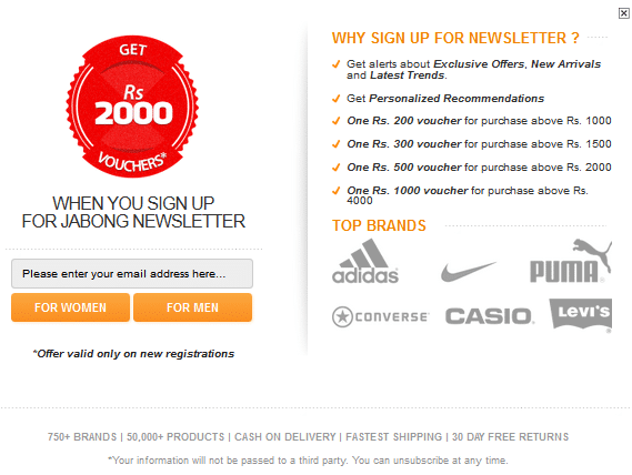 Targeted Newsletter Signup by Jabong