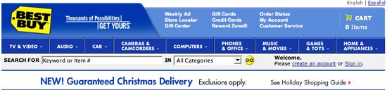 Guaranteed Christmas delivery banner by Best Buy