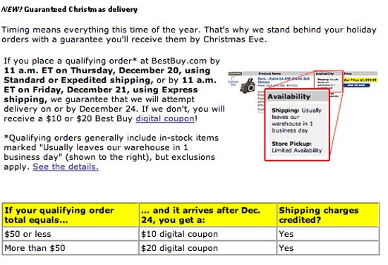 Conditions applied to the Best Buy Christmas guarantee