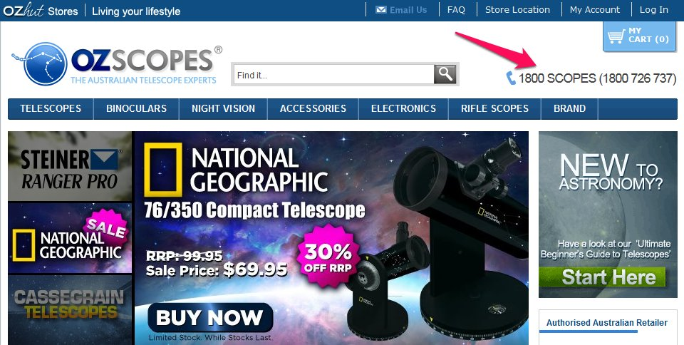OzScopes prominently displays their phone number in their homepage header
