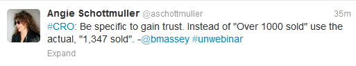 Angie Schottmuller's tweet about the necessity to be precise to gain trust
