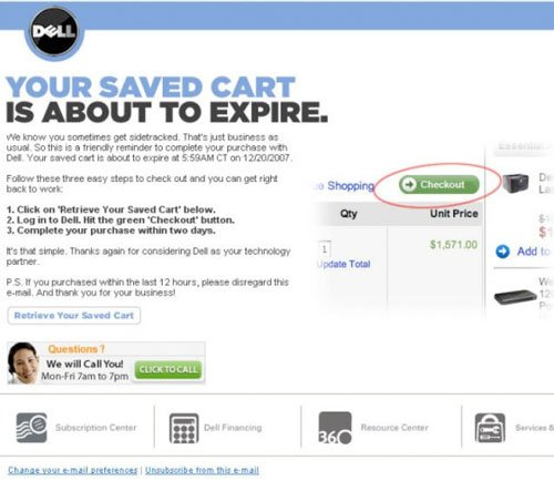 Shopping cart recovery email by Dell