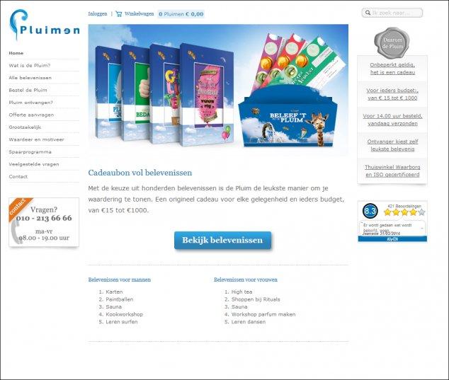 Pluimen's challenger version of homepage