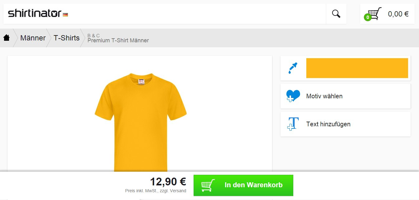 Shirtinator Mobile Webpage