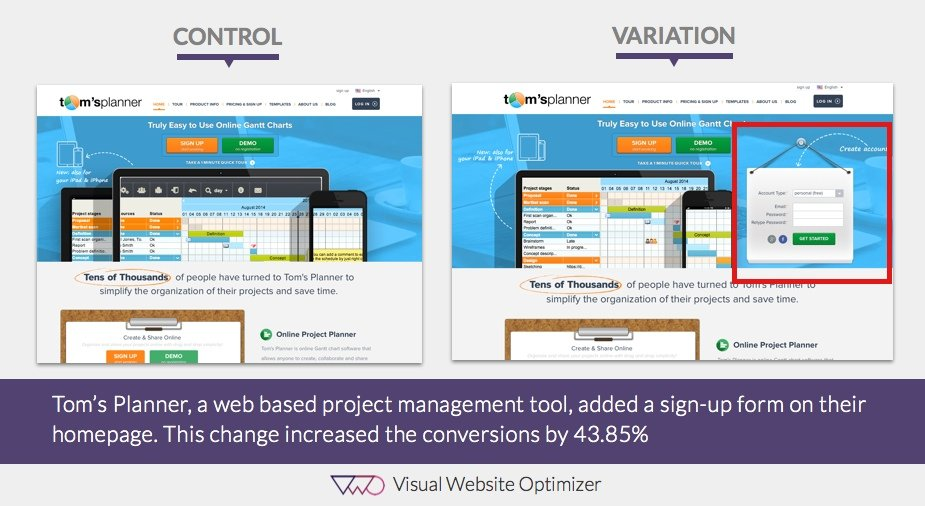Comparison image - ab testing on homepage of Tom's Planner website