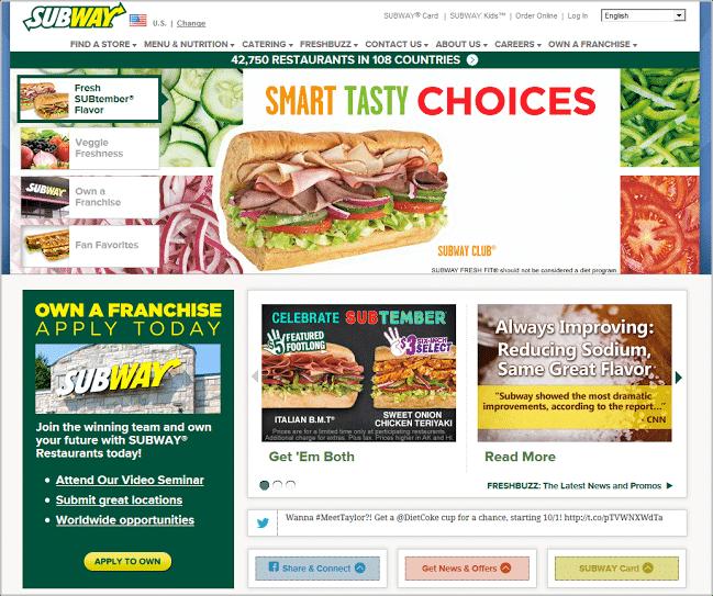 Subway Homepage
