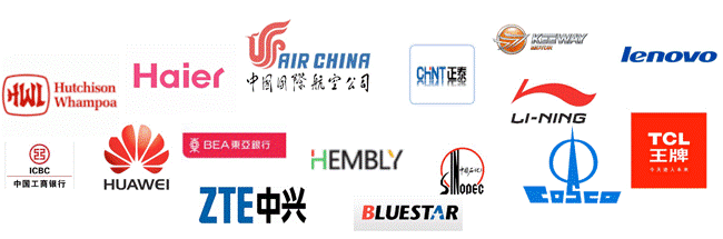 Logos of prominent Chinese companies