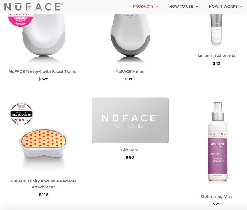 A/B test for NuFace website - products