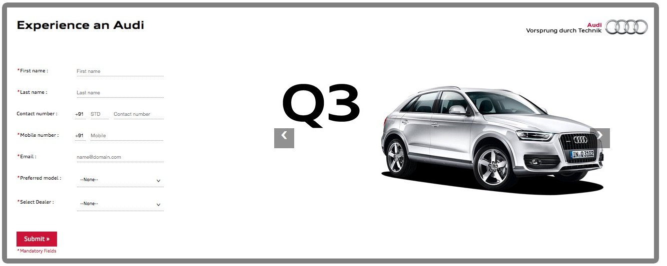 Audi test drive microsite