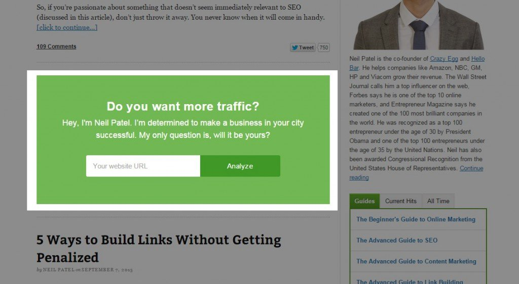Example of in-content pop-up opt-in form