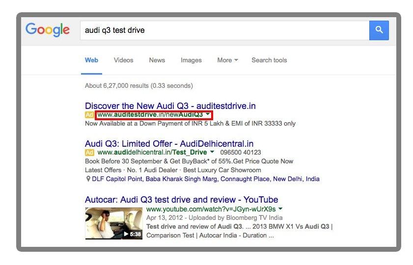 Audi microsite search ad