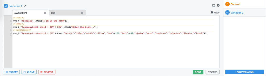 Screenshot of the VWO Code Editor