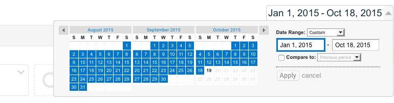 Date range in Google Analytics