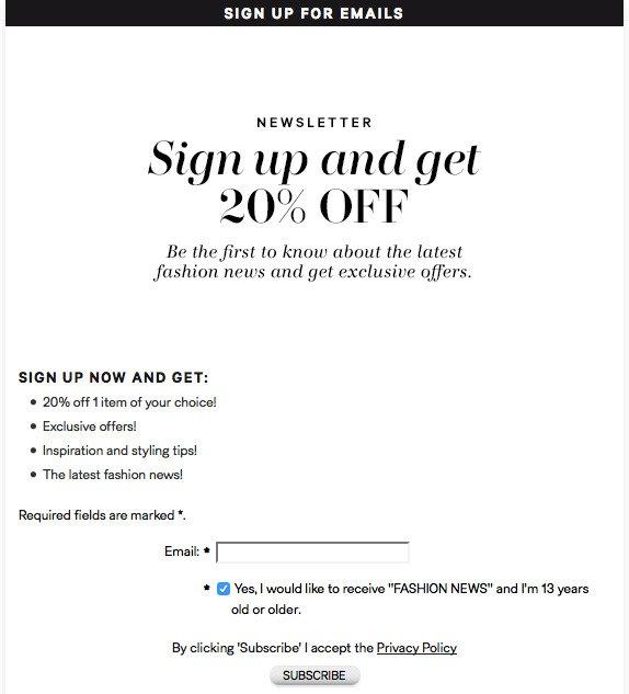 H&M Newsletter offer