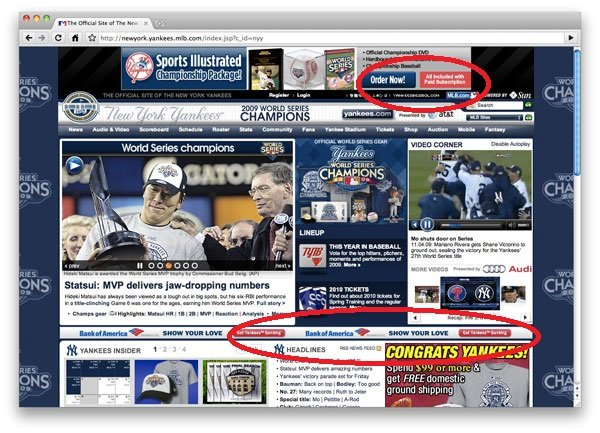Yankees website, cluttered page.