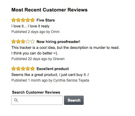 Screen grab of customer reviews on Amazon.com