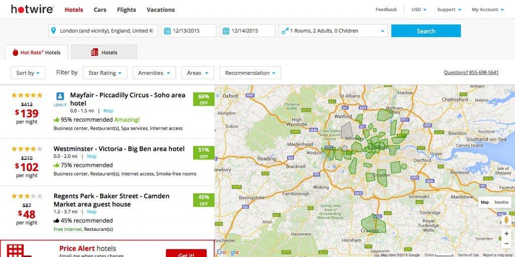 Screenshot: Hotwir lists properties on a map view