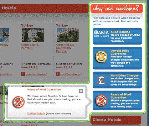 Travel Website Displays USPs