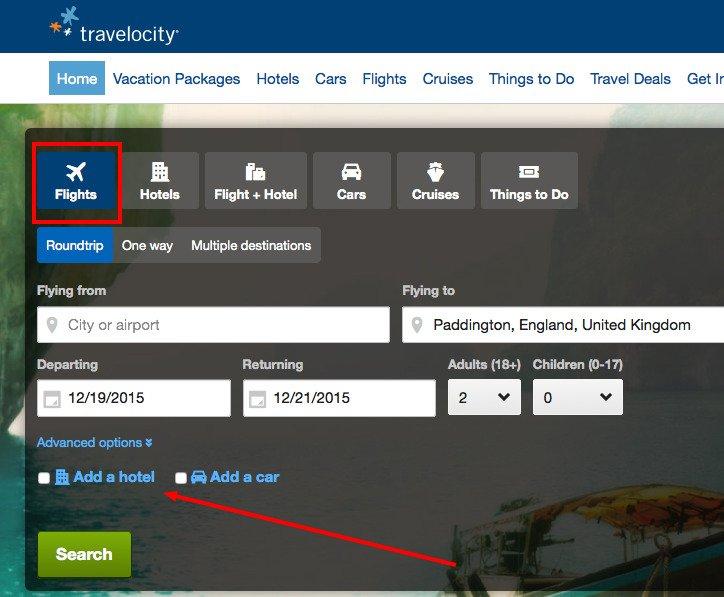 Travelocity Cross-sell example