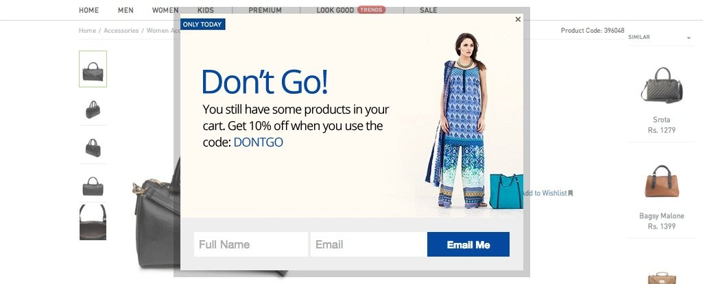 Pop-up displayed when a cart is abandoned - Example