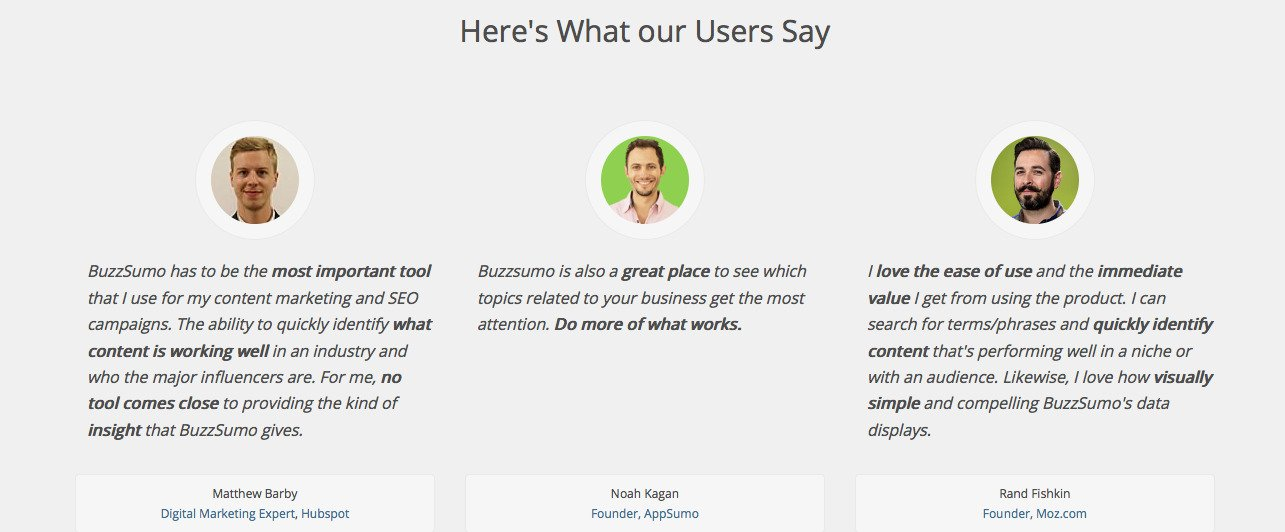Testimonials on Buzzsumo homepage