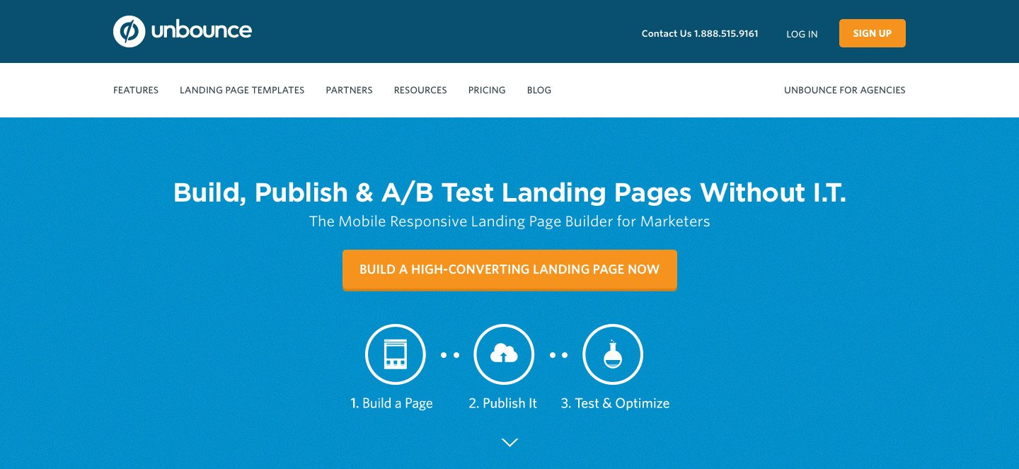 Unbounce Homepage Example