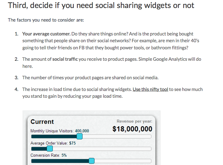 VWO post on using social share buttons on product pages
