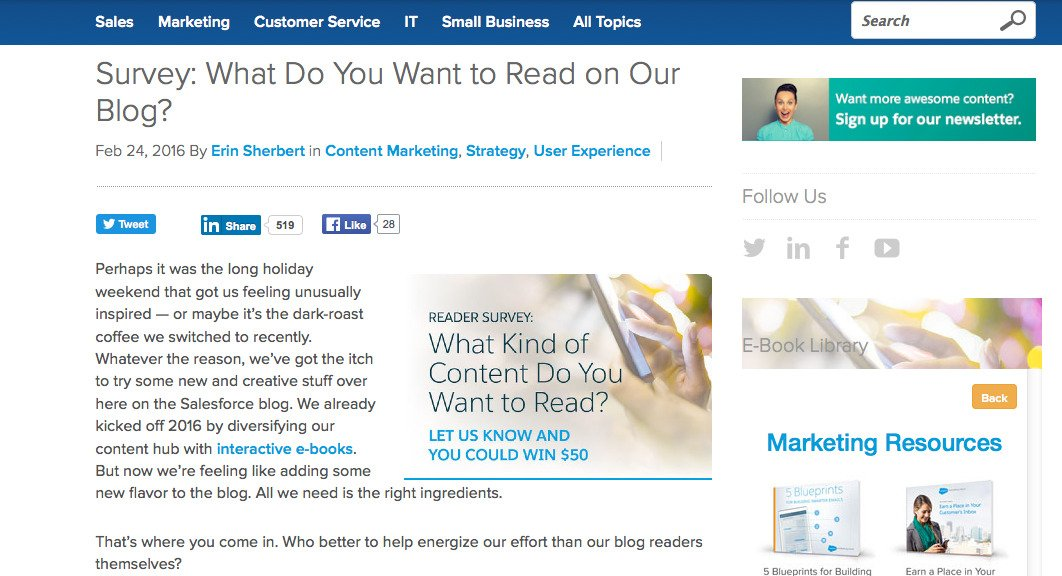 Salesforce asking users for Content ideas
