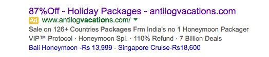 cheap holiday packages search ads