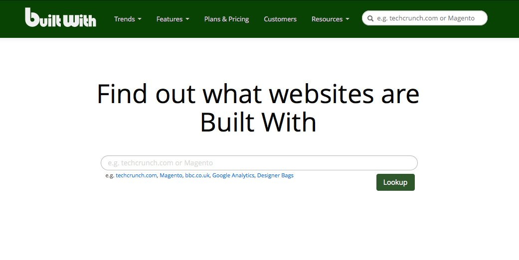 BuiltWith Homepage
