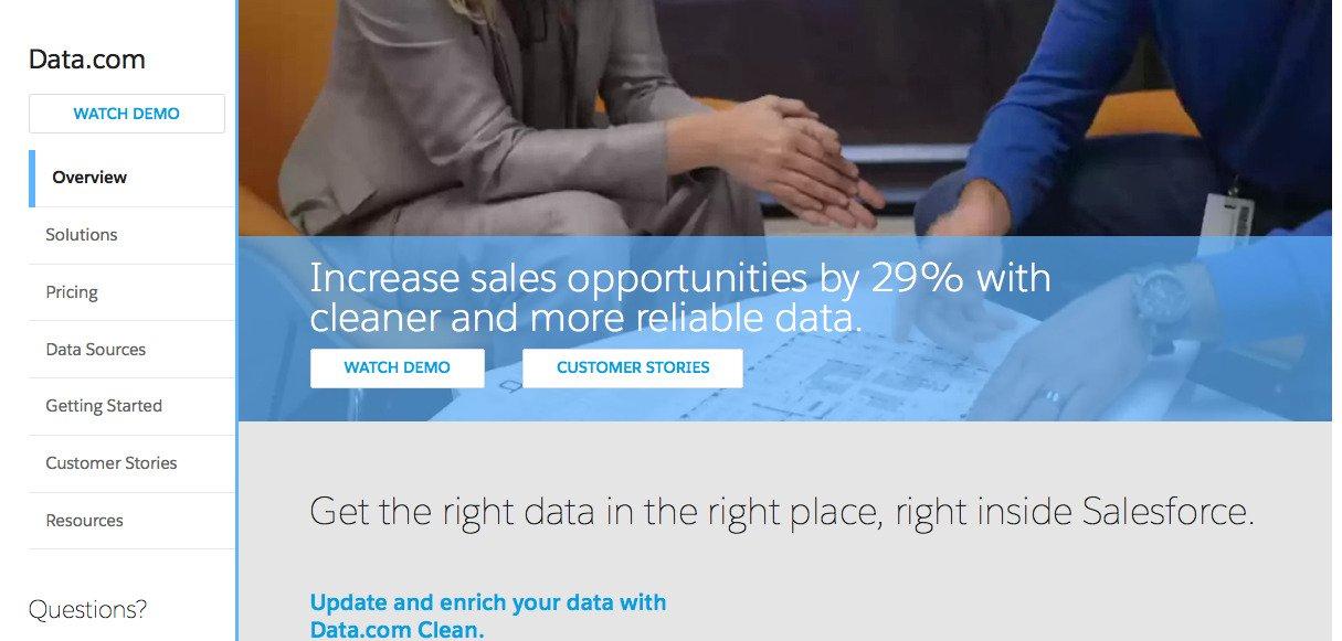 Data.com Homepage