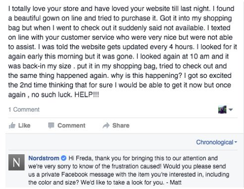 Negative Customer Feedback Response Nordstrom