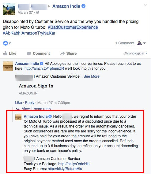 Negative Customer Feedback Response by Amazon