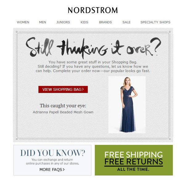 Nordstrom Shopping cart recovery email