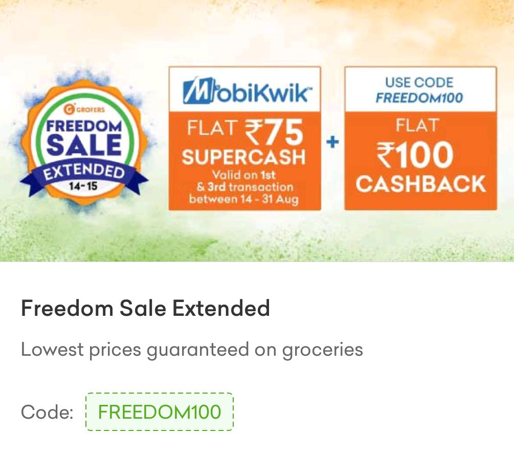 Grofers Freedom Sale
