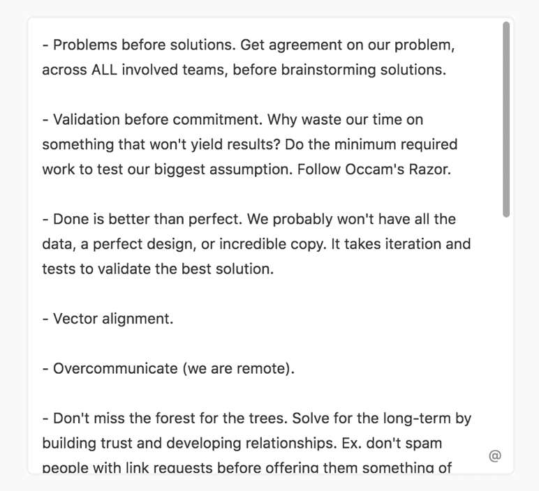 screenshot of the principles document from Hubspot