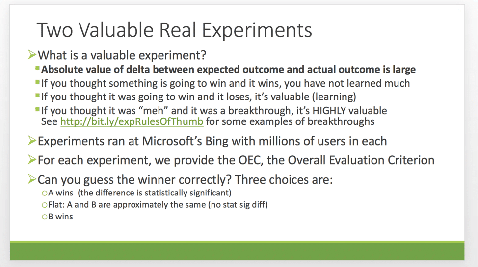 an image showing what constitutes a valuable real experiment