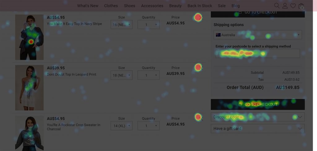 screenshot of an example of a heatmap on the cart page