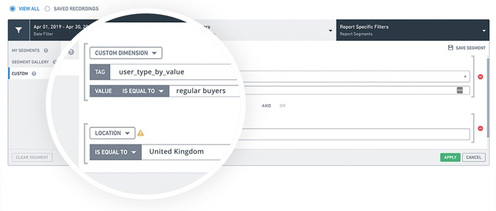 screenshot showing the VWO in-app segmentation of regular users from Britain