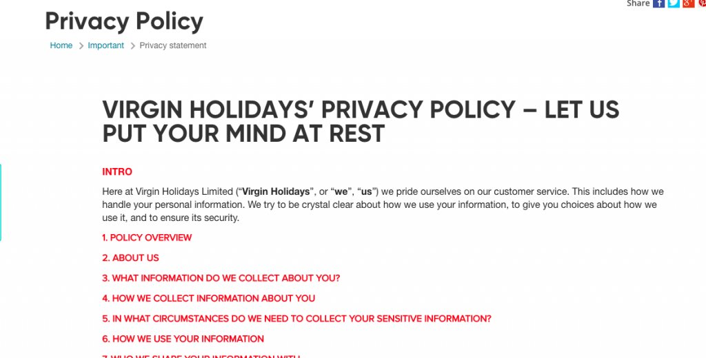 Privacy Policy of Virgin Holidays